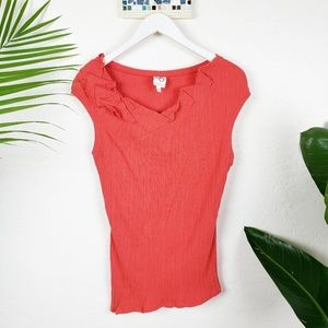 Anthro One September Ribbed Asymmetric Ruffle Top